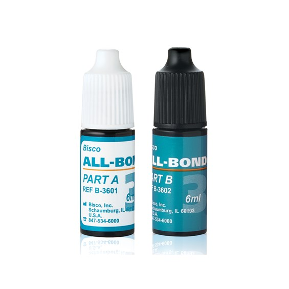 All-Bond 3 is a 4th generation dual-cured universal dental adhesive.  Parts A &B are available in two different bottles.