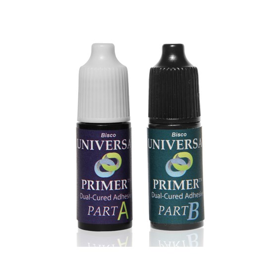 Universal Primer dual-cured adhesive is a 2-bottle adhesive/primer that does not need to be light-cured when used with indirect restorations.