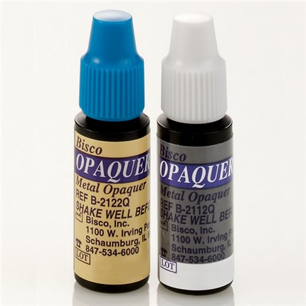 Opaquer is a two component, dual curable opaquing agent.  The base and catalyst are sold in two separate bottles.