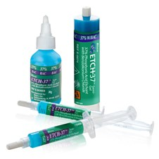Etch37 w/BAC 37% phosphoric acid etchant featuring the 30g bottle, 30ml bulk syringe and 5g syringes.