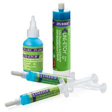 Uni-Etch w/BAC 32% phosphoric acid etchant featuring the 30g bottle, 30ml bulk syringe and 5g syringes.